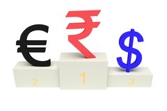 Bästa valutor, stark indisk rupie, med nummer som isoleras Arkivbilder