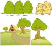Bäume, Anlagen und Futter stock abbildung
