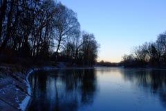 Bäume auf der Bank des Eissees Lizenzfreie Stockfotografie
