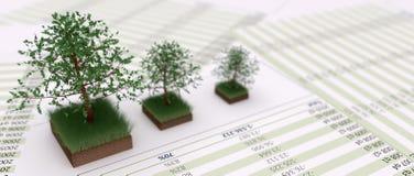 Bäume auf grasartiger Bodenänderung am objektprogramm und auf financal Dateien lizenzfreie stockfotografie