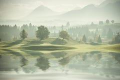Bäume auf Hügel-Reflexion im Wasser Stockfotografie