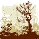 Bäume, Blume, Flugwesenvögel vektor abbildung