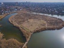 Bäume, die noch mit etwas goldenen Farben grün bleiben Teich im Herbstpark Lizenzfreies Stockfoto