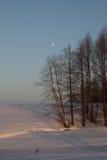Bäume durch den gefrorenen Fluss füllten mit Abendsonnestrahlen über dem blauen Himmel und einem Mond Stockfotos