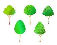 Bäume eingestellt auf Weiß Stockbild