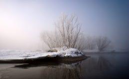 Bank des Flusses in einem Nebel stockfoto
