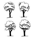 Bäume für ein Landschaftsdesign Unterschiedliche Hand gezeichnete Bäume lokalisiert auf weißem Hintergrund, Skizze, Architekturze Lizenzfreies Stockfoto