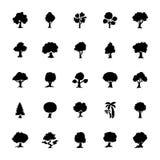 Bäume Glyph-Vektor-Ikonen eingestellt Lizenzfreie Stockfotos