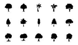 Bäume Glyph-Vektor-Ikonen-Satz Stockbilder