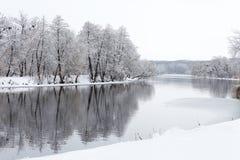 Bäume im Schnee und nicht schon im gefrorenen Fluss Lizenzfreies Stockfoto