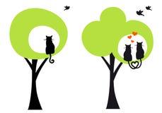 Bäume mit Katzen und Vögeln, Vektor Stockfoto