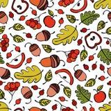 Bäume, Niederlassungen, Blätter Beeren und Äpfel eicheln Nahtloser Vektormusterhintergrund stockbilder