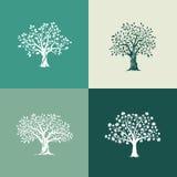 Bäume silhouettieren Set Stockfoto