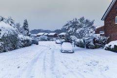 Bäume und Autos bedeckt im Schnee in Vereinigtem Königreich Lizenzfreies Stockfoto