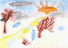 Bäume und die Sonne gezeichnet durch Kindhand auf Papier Stockfotografie