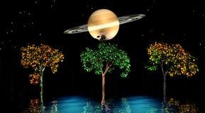 Bäume und Planet vektor abbildung