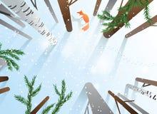 Bäume und Schnee, Schuss von oben Stockfotografie