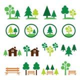 Bäume, Wald, parken die grünen eingestellten Ikonen Lizenzfreies Stockbild