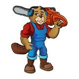 Bäverskogsarbetare Cartoon royaltyfri illustrationer
