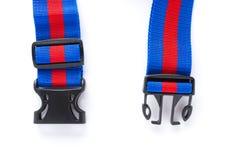 Błękit & czerwona nicielnica z czernią zapinamy na białym bckground zdjęcia stock