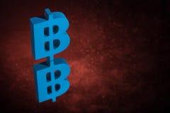 Błękitny Bitcoin waluty symbol Z Lustrzanym odbiciem na Czerwonym Zakurzonym tle ilustracja wektor