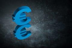 Błękitny Eu waluty znak Z Lustrzanym odbiciem na Ciemnym Zakurzonym tle lub symbol ilustracja wektor