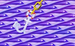 Błękitny falisty tło 3d lub biała Nautyczna kotwica, zaokrąglona plastikowa realistyczna zabawka Sztandaru statku wyposażenie, il ilustracji