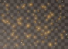 Błyskotliwe żółte cząsteczki czarodziejskie pył iskry połyskują specjalnego lekkiego skutek Wektor błyska na przejrzystym tle ilustracja wektor