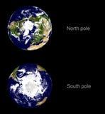 båda jorda en kontakt planetpoler Arkivbild