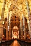 Bågar och monumentala kolonner av den Santa Maria de Belem kyrkan royaltyfri bild
