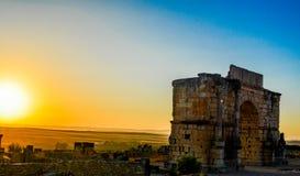 Båge av Caracalla, Volubilis Royaltyfri Fotografi