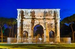Båge av Constantine, Rome, Italien arkivfoto