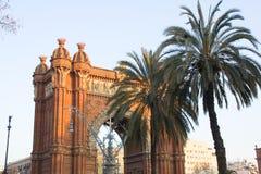 båge barcelona de triomphe Royaltyfri Fotografi