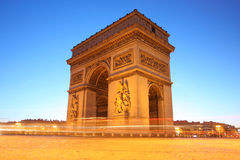 båge de afton paris triumf Royaltyfria Bilder