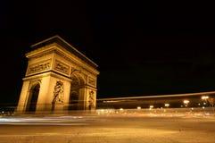 båge de natt paris triomphe Arkivbilder