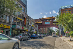 Båge i kineskvarter i Montreal Arkivbilder