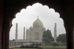 båge inramning mahal mughal taj Arkivbild