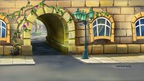 Båge på ingången till borggården Arkivbild