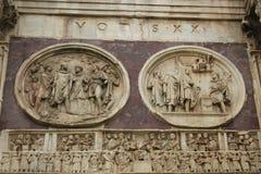 Bågen av Constantine - detalj, Rome, Italien Royaltyfri Fotografi