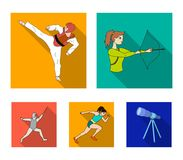 Bågskytte karate, spring, fäktning Olympiska symboler för sportuppsättningsamling i plant stilvektorsymbol lagerför illustrationr Arkivfoton