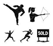 Bågskytte karate, spring, fäktning Olympiska symboler för sportuppsättningsamling i svart stilvektorsymbol lagerför illustratione Arkivfoto