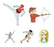 Bågskytte karate, spring, fäktning Olympiska symboler för sportuppsättningsamling i symbol för tecknad filmstilvektor lagerför il Arkivbild