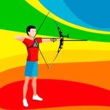 Bågskyttespelare uppsättning för symbol för 2016 sommarlekar isometrisk spelare Archer för bågskytte 3D Sportslig mästerskap inte Royaltyfri Bild