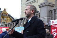 Bård Vegard Solhjell. Speaking a rally in Oslo, Norway. Solhjell (born 22 December 1971) is a Norwegian politician for the Socialist Left Party (Sosialistisk Stock Images