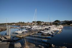 Båthavn. Boatyard with many boats ready for winter Royalty Free Stock Photography