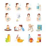 Bébé alimentant les icônes plates réglées Photo stock