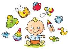 Bébé avec des choses de bébé Photos libres de droits