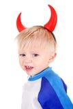 Bébé avec des klaxons de diable Images libres de droits