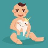 Bébé avec la première dent Image stock