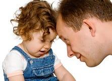 Bébé avec le papa, d'isolement Photographie stock